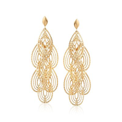 Italian 18kt Yellow Gold Open Diamond-Cut Chandelier Earrings, , default