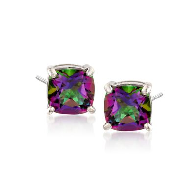 2.20 ct. t.w. Cushion-Cut Mystic Topaz Stud Earrings in Sterling Silver