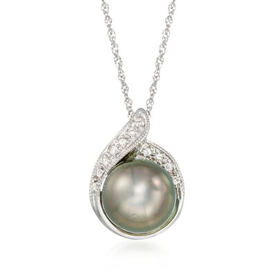 8.5-9mm Black Cultured Tahitian Pearl Pendant Necklace with Diamond Accents in 14kt White Gold, , default