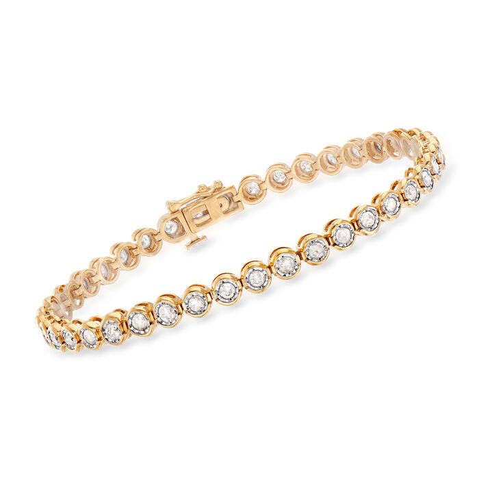 2.00 ct. t.w. Bezel-Set Diamond Bracelet in 18kt Gold Over Sterling, , default