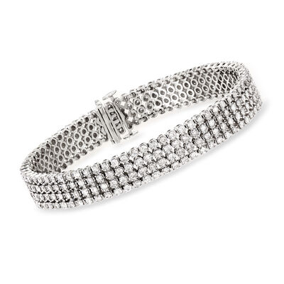 7.00 ct. t.w. Diamond Multi-Row Bracelet in 14kt White Gold, , default