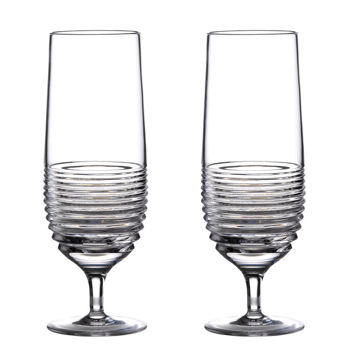 """Waterford Crystal """"Mixology Circon"""" Set of 2  Hurricane Glasses"""