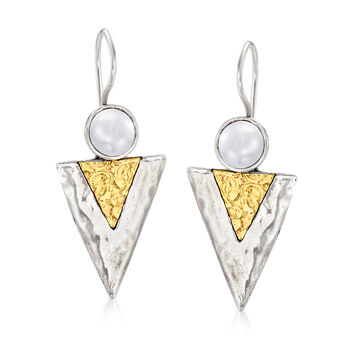 7-7.5mm Cultured Pearl Triangle Drop Earrings in Sterling Silver with 14kt Yellow Gold