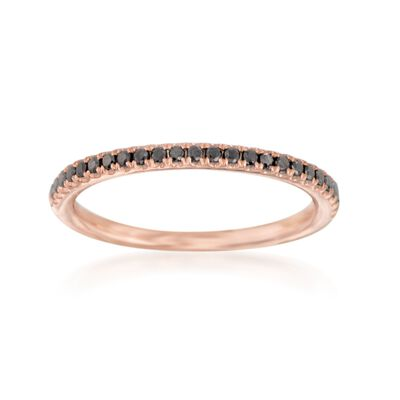 Henri Daussi .15 ct. t.w. Black Diamond Wedding Ring in 14kt Rose Gold, , default