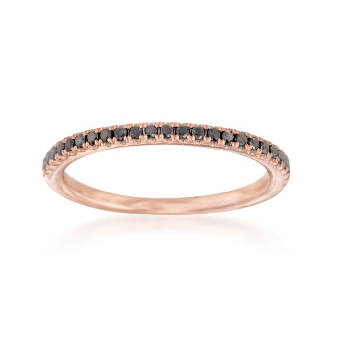 Henri Daussi .15 ct. t.w. Black Diamond Wedding Ring in 14kt Rose Gold
