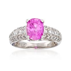 C. 2000 Vintage 3.17 Carat Pink Sapphire and .80 ct. t.w. Diamond Ring in Platinum, , default