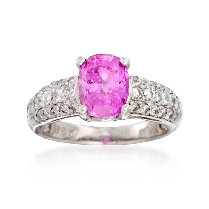 C. 2000 Vintage 3.17 Carat Pink Sapphire and .80 ct. t.w. Diamond Ring in Platinum. Size 7.75, , default
