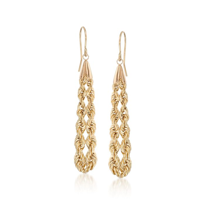 14kt Yellow Gold Rope Chain Drop Earrings, , default