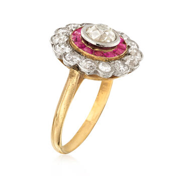 C. 1950 Vintage 1.75 ct. t.w. Diamond and .65 ct. t.w. Ruby Ring in Sterling Silver and 14kt Yellow Gold. Size 6.75, , default