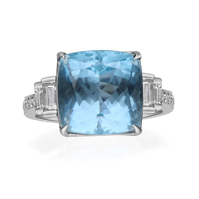 10.00 Carat Aquamarine Ring with .53 ct. t.w. Diamonds in 18kt White Gold