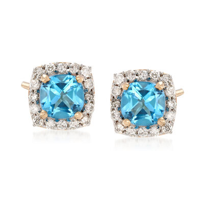 1.30 ct. t.w. Swiss Blue Topaz and .31 ct. t.w. Diamond Earrings in 14kt Yellow Gold, , default