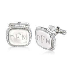 Sterling Silver Cushion Roped Personalized Cuff Links, , default