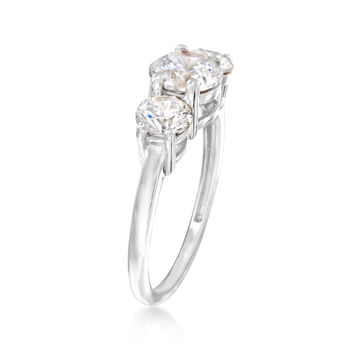 2.00 ct. t.w. CZ Three-Stone Ring in 14kt White Gold, , default