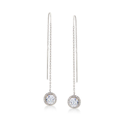 2.70 ct. t.w. CZ Halo Threader Earrings in Sterling Silver