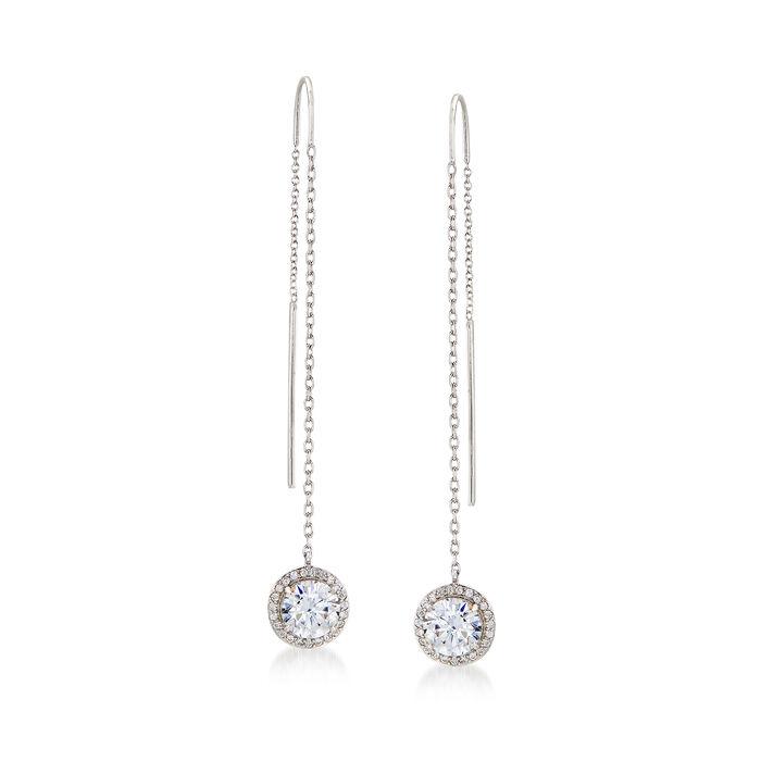 2.70 ct. t.w. CZ Halo Threader Earrings in Sterling Silver