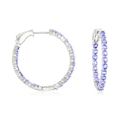 5.00 ct. t.w. Tanzanite Hoop Earrings in Sterling Silver