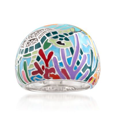 "Belle Etoile ""Sea Turtle"" Aqua Enamel Ring With CZs in Sterling Silver, , default"