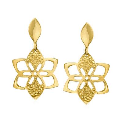 Italian 14kt Yellow Gold Flower Drop Earrings