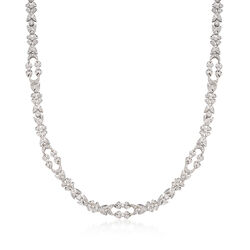 "C. 1990 Vintage 5.00 ct. t.w. Diamond Floral Necklace in 18kt White Gold. 17"", , default"