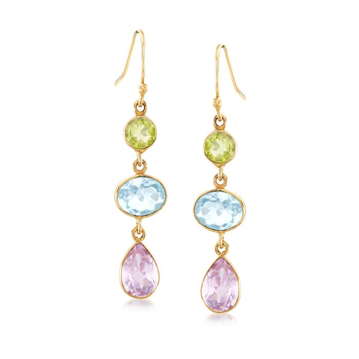 15.00 ct. t.w. Multi-Stone Drop Earrings in 18kt Yellow Gold Over Sterling Silver