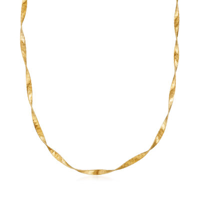 Italian 18kt Gold Over Sterling Ribbon Necklace