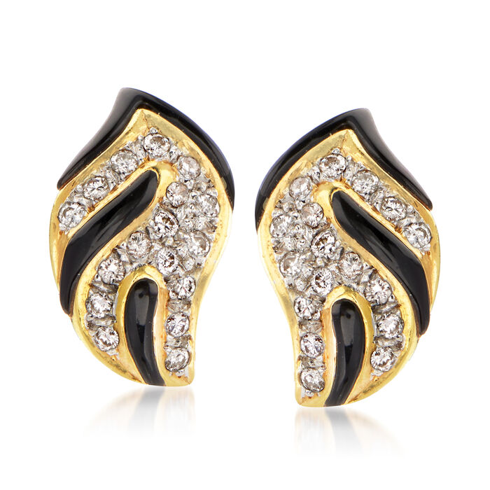 C. 1980 Vintage Black Onyx and .70 ct. t.w. Diamond Earrings in 18kt Yellow Gold
