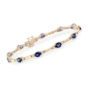 """4.80 ct. t.w. Sapphire and .65 ct. t.w. Diamond Bracelet in 14kt Yellow Gold. 7.5"""", , default"""