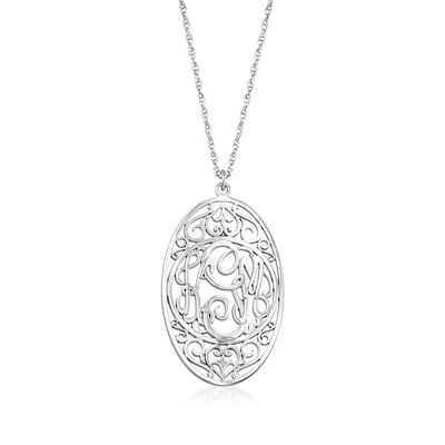 Sterling Silver Oval Scrollwork Monogram Pendant Necklace, , default