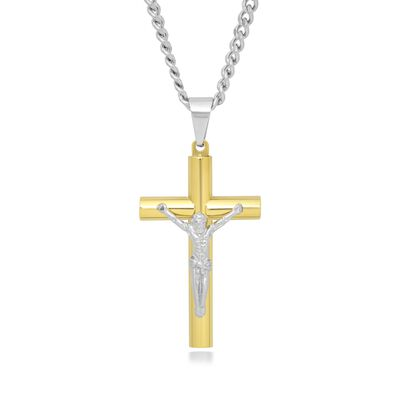 Men's Two-Tone Stainless Steel Crucifix Pendant Necklace, , default