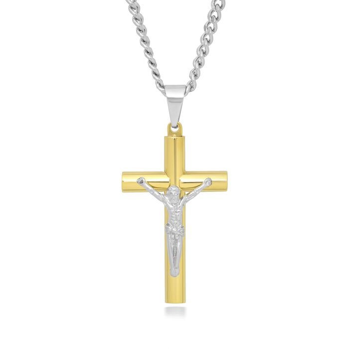 "Men's Two-Tone Stainless Steel Crucifix Pendant Necklace. 24"", , default"