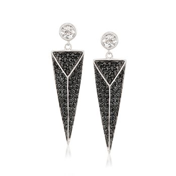 4.55 ct. t.w. Black Spinel and 1.20 ct. t.w. White Topaz Geometric Earrings in Sterling Silver , , default