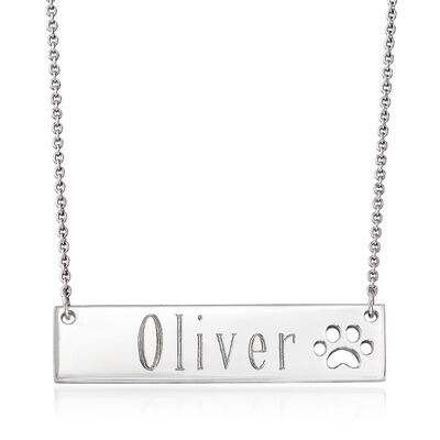 Personalized Name Bar Necklace with Paw Print in Sterling Silver, , default