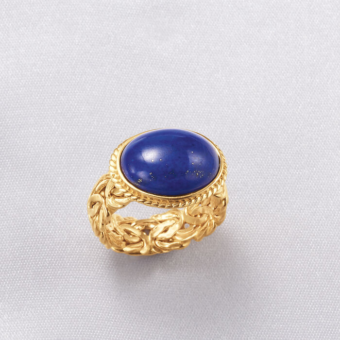 Lapis Byzantine-Link Ring in 14kt Yellow Gold