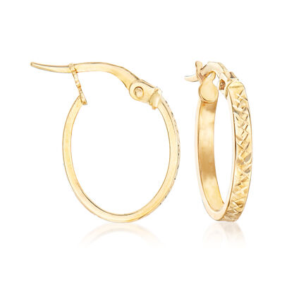Italian 18kt Yellow Gold Textured Hoop Earrings, , default