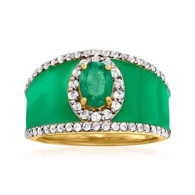 .70 Carat Emerald and .70 ct. t.w. White Zircon Ring with Green Enamel in 18kt Gold Over Sterling