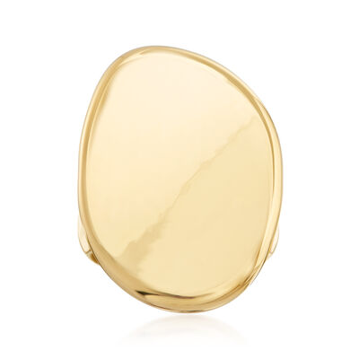 Italian Andiamo 14kt Yellow Gold Over Resin Oval Concave Ring