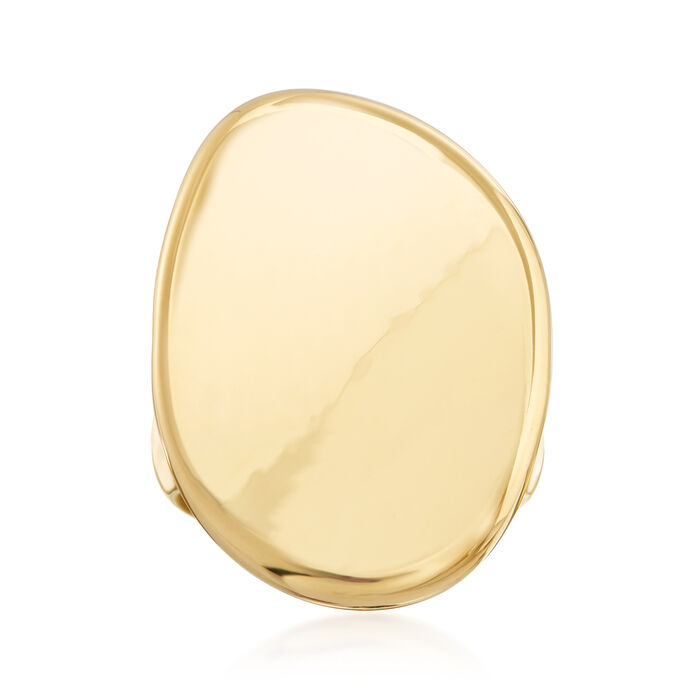 Italian Andiamo 14kt Yellow Gold Over Resin Oval Concave Ring, , default