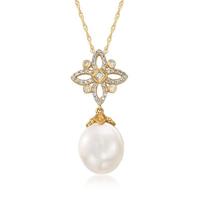 11-12mm Cultured South Sea Pearl and .26 ct. t.w. Diamond Necklace in 14kt Yellow Gold, , default