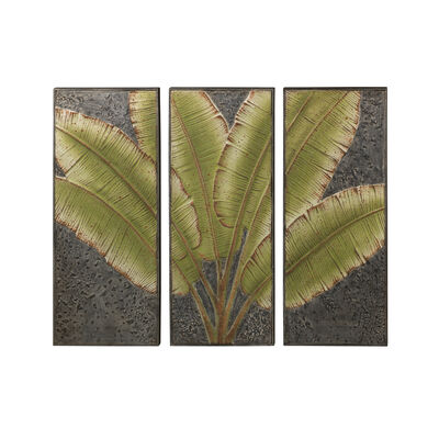 Regal Green Leaves Metal Outdoor Wall Decor, , default