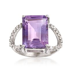 6.75 Carat Emerald-Cut Amethyst and .40 ct. t.w. White Topaz Ring in Sterling Silver, , default