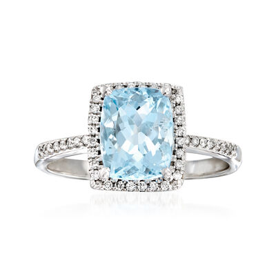 2.00 Carat Aquamarine and .16 ct. t.w. Diamond Ring in 14kt White Gold