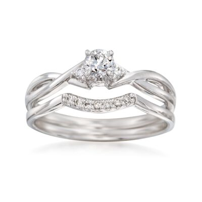 .34 ct. t.w. Diamond Bridal Set: Engagement and Wedding Rings in 14kt White Gold, , default