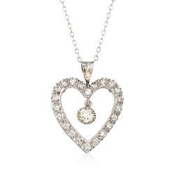 C. 1950 Vintage .65 ct. t.w. Heart Dangle Pendant Necklace in 14kt White Gold, , default