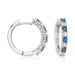 .50 ct. t.w. Sapphire and .35 ct. t.w. Diamond Hoop Earrings in 14kt White Gold, , default