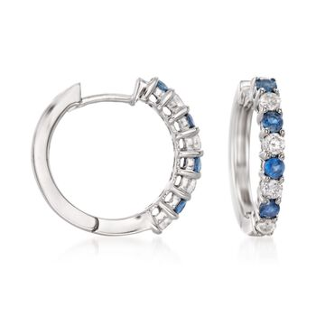 """.50 ct. t.w. Sapphire and .35 ct. t.w. Diamond Hoop Earrings in 14kt White Gold. 5/8"""", , default"""