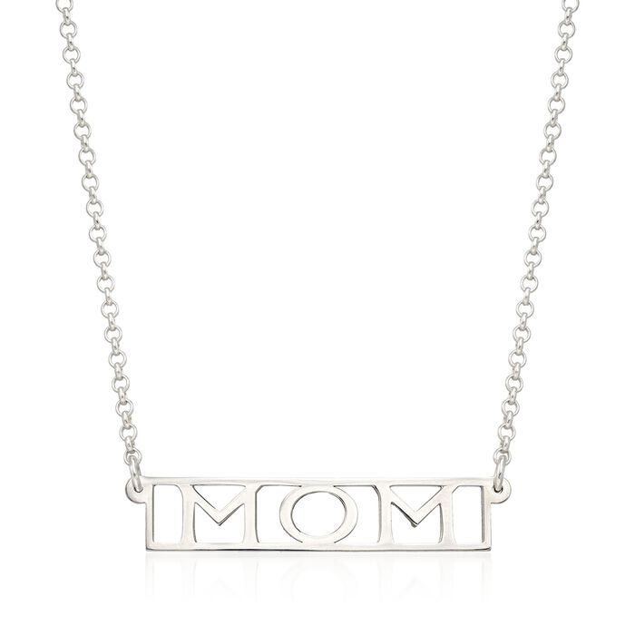 """Sterling Silver """"Mom"""" Pendant Necklace"""