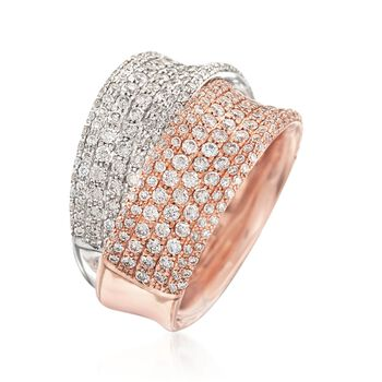 Simon G. 2.24 ct. t.w. Diamond Crossover Ring in 18kt Two-Tone Gold. Size 7