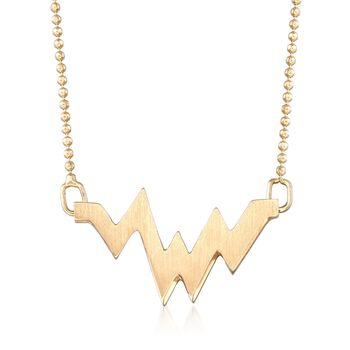 "C. 2000 Vintage Alex Woo ""Elements Aw Heartbeat"" 14kt Yellow Gold Necklace. 16"", , default"