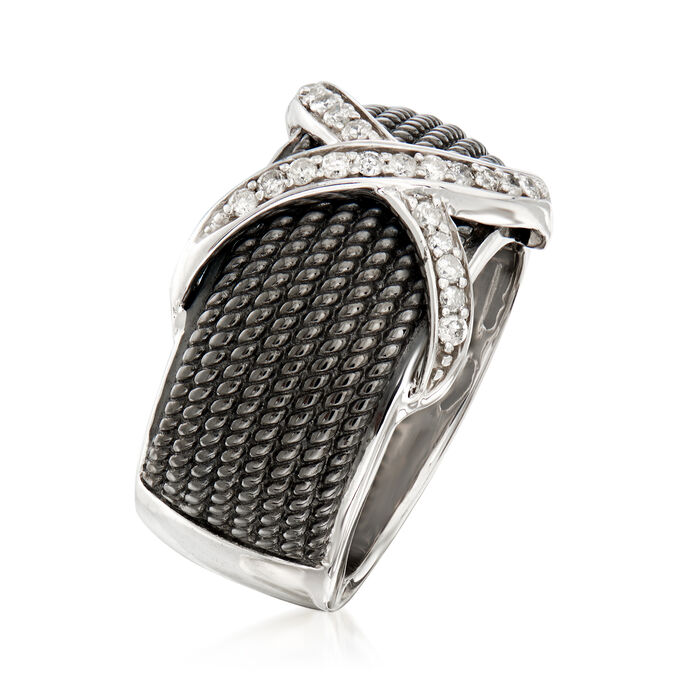 .25 ct. t.w. Diamond X Ring in Sterling Silver and Black Rhodium