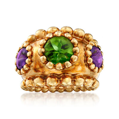 C. 1990 Vintage Chanel 2.00 Carat Peridot and 1.80 ct. t.w. Amethyst Ring in 18kt Yellow Gold
